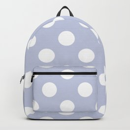 Light periwinkle - grey - White Polka Dots - Pois Pattern Backpack