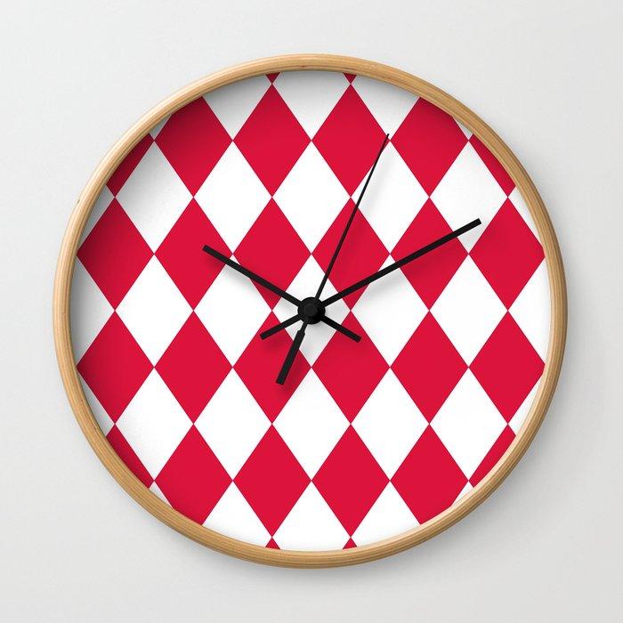 Diamonds (Crimson/White) Wall Clock
