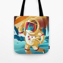 astronaut jumping on europe jupiter satellite surface Tote Bag