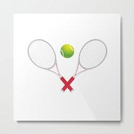 Tennis ball with rackets Metal Print