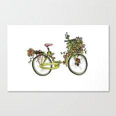 Flower-bike Canvas Print