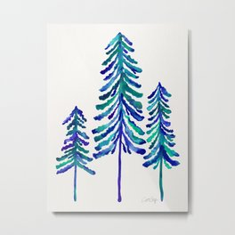 Pine Trees – Navy & Turquoise Palette Metal Print