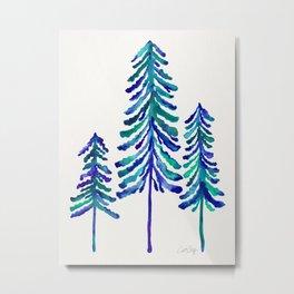 Pine Trees – Navy & Turquoise Palette Metal Print