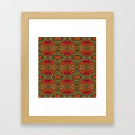Whimsical pink, orange and green retro pattern  Framed Art Print