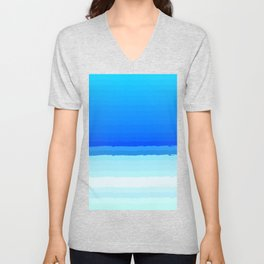 blue lines pattern shaded Unisex V-Neck