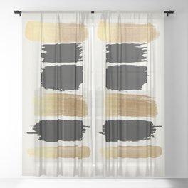 Brush Strokes (Black/Gold) Sheer Curtain