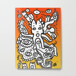 Street Art Graffiti Monsters with Friends in the sunset Metal Print