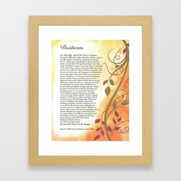Inspirational Typography Wall Art, Flowing Leaves Style, Desiderata Poem by Max Ehrmann Framed Art Print