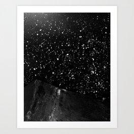 Moon Rising in the dark Black and White Art Print