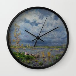 Boat amid the lilies (Pêche_aux_anguilles) by Isidore Verheyden Wall Clock