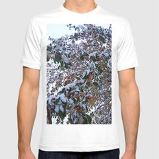 Snow on Fall Leaves Mens Fitted Tee White MEDIUM