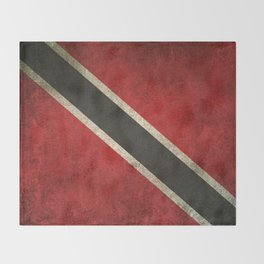 Old and Worn Distressed Vintage Flag of Trinidad and Tobago Throw Blanket