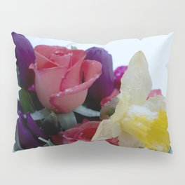 Vibrant bouquet of flowers in the snow Pillow Sham