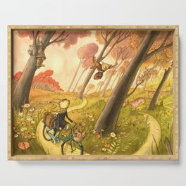 Bike Ride Through The Woods Serving Tray
