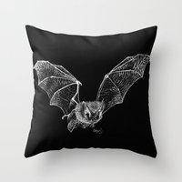 bat Throw Pillows featuring Bat by Cortney Palmer Art