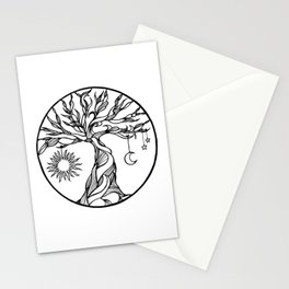 black and white tree of life with hanging sun, moon and stars I Stationery Cards