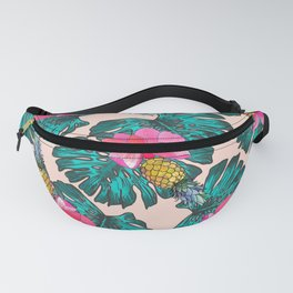 Tropical Pink Green Watercolor Monster Leaves Pineapples Fanny Pack