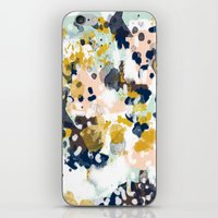 beach iPhone & iPod Skins featuring Sloane - Abstract painting in modern fresh colors navy, mint, blush, cream, white, and gold by CharlotteWinter