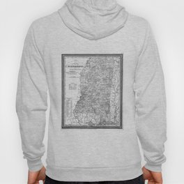 Vintage Map of Mississippi (1853) BW Hoody
