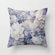 blue vintage floral Throw Pillow