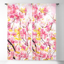 Beautiful photography pink cherry blossom flowers pattern Blackout Curtain