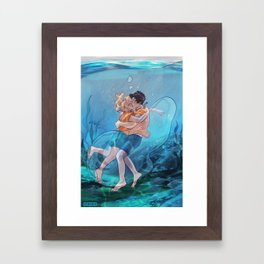 The best underwater kiss Framed Art Print