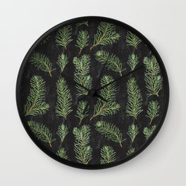 Watercolor pine branches pattern Wall Clock