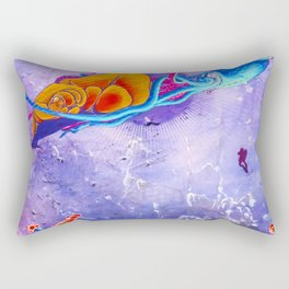 """""""Gods of the Sea"""" Whale,Colossal Squid ,jellyfish and diver Ocean Animal Art Rectangular Pillow"""