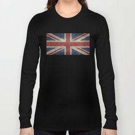 UK Flag, Dark grunge 1:2 scale Long Sleeve T-shirt