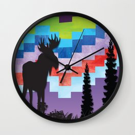 Moose Night Walk Wall Clock