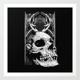 Gothic Skull white ink Art Print
