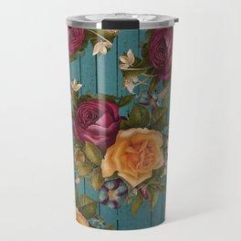Vintage green wood coral burgundy roses floral Travel Mug