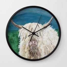 A Sweet Shaggy Highland Coo Wall Clock