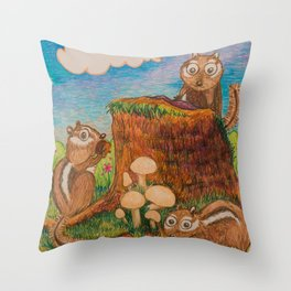 Chipmunk Picnic Throw Pillow