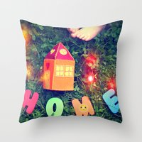 home sweet home Throw Pillows featuring HOME by Julia Kovtunyak