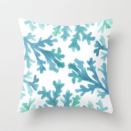 Blue Ombre Coral Throw Pillow