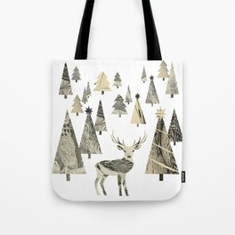 Winter Woods, collage Tote Bag
