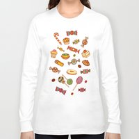 macaroons Long Sleeve T-shirts featuring candy and pastries by Chicca Besso
