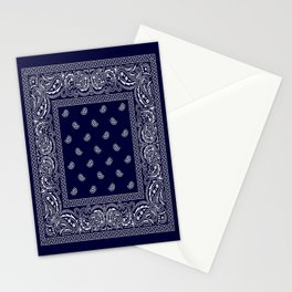 Bandana - Navy Blue - Southwestern - Paisley  Stationery Cards