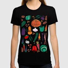 fall veggies blue T-shirt