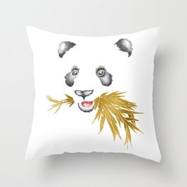 Panda Bear & Bamboo - Gold Bamboo Throw Pillow