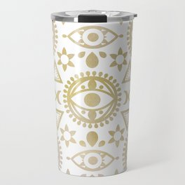 Geometric Evil Eye Metallic Travel Mug