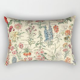 Vintage Floral Drawings // Fleurs by Adolphe Millot XL 19th Century Science Textbook Artwork Rectangular Pillow