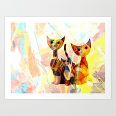 Familie Katze Art Print
