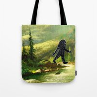 sasquatch Tote Bags featuring Sasquatch by Andy Detskas