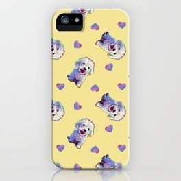 Cute BICHON FRISE Pattern on Pale Yellow iPhone Case