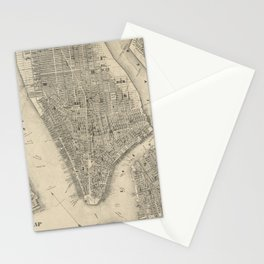 Vintage Map of NYC and Brooklyn (1855) Stationery Cards