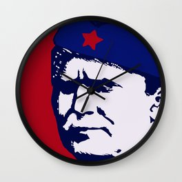 Tito Josip Broz Yugoslavia  -  portrait red star  Wall Clock