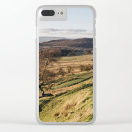 Trees on a hillside at sunset. Upper Padley, Derbyshire, UK. Clear iPhone Case
