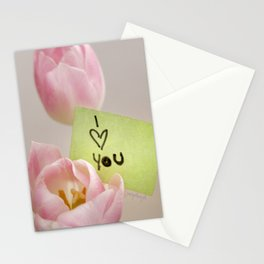 I Heart You with Pink Tulips Stationery Cards